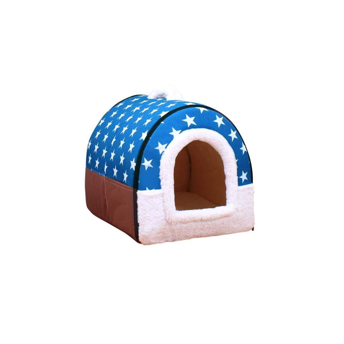 Kennel, Cat Litter, Warm Winter, Thick Large, Teddy, Small Dog, Medium Dog, Pet Dog, Cat, Dog Mat, Dog House, Removable, bluee Star, M No. 45  35  35cm Recommended to Use Within 11 Kg
