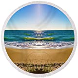 Pixels Round Beach Towel With Tassels featuring ''Enchanted Mirror'' by Betsy Knapp