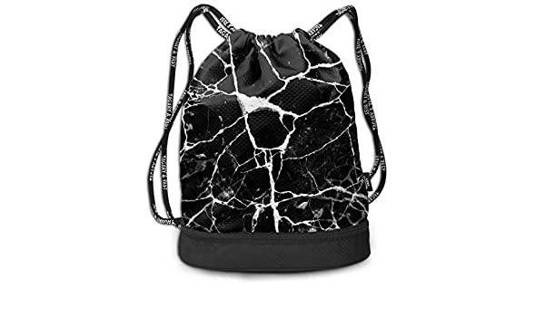 b73693839b14 Amazon.com: OLOSARO Drawstring Bag Marble Print Black White Shoulder ...