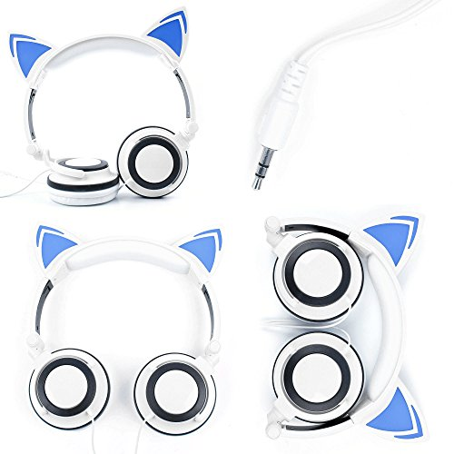 White Cat Children's Headphones (with Blue LED Ears) For Curtis DVD7015UK Portable 7 inch DVD Player & Akai 7'' Portable DVD with DIGITAL TV - by DURAGADGET by DURAGADGET
