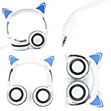 White Cat Children's Headphones (with Blue LED Ears) For ASUS Transformer AiO P1801-B037K 18.4-Inch Desktop - by DURAGADGET