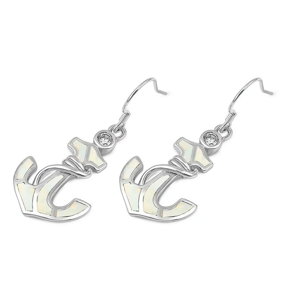 | Cute Jewelry Gift Circle Glitzs Jewels 925 Sterling Silver Created Opal Earrings White
