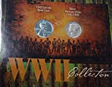 WWII COIN COLLECTION 1943LINCOLN STEEL CENT & SILVER MERCURY DIME 1941-1945