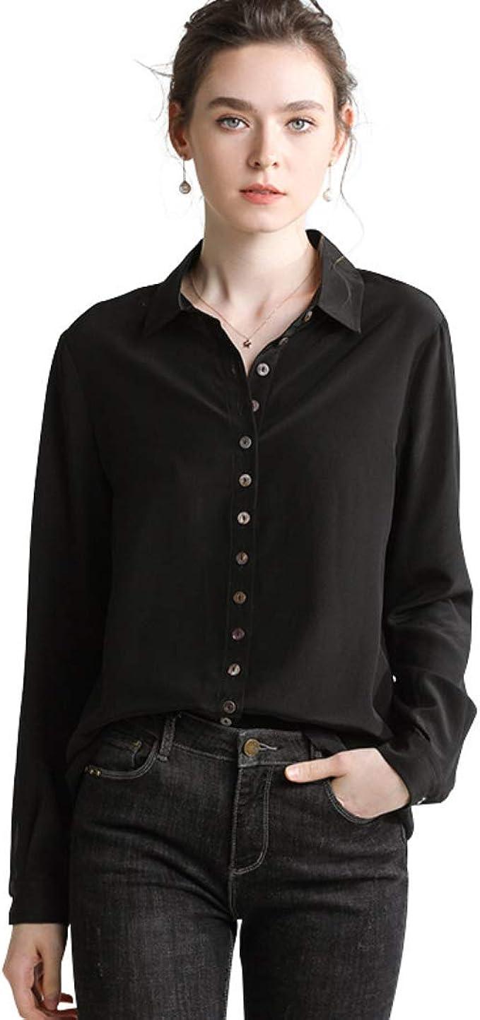 YingDeLi Mujer Elegante Camisa de satén de Seda con Botones Camisa de Manga Larga con Cuello en v Top Blusa de Moda Slim fit Casual Blusa de Seda Top (S): Amazon.es: Ropa