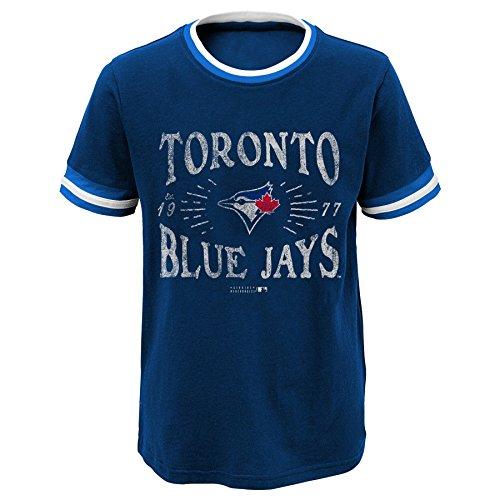 MLB Toronto Blue Jays Youth Boys 8-20 Ringer Tee-XL (18), Athletic Navy