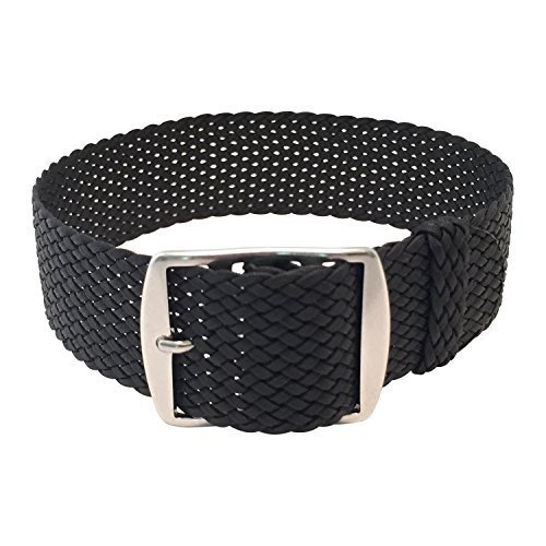 Wrist And Style Perlon Watch Strap - Black | 22mm