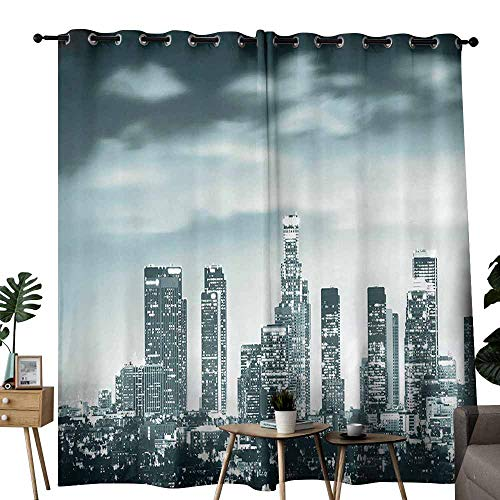 - duommhome Night Decor Exclusive Home Curtains Urban Theme Los Angeles Skyline at Night Skyscrapers and Lights Digital Art Print Block Most Light and Ultraviolet Light W96 xL72 Teal