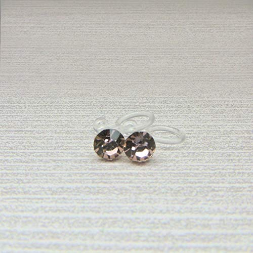 Invisible Clip On Earrings 5mm Pale Pink Glass Rhinestone June Gift
