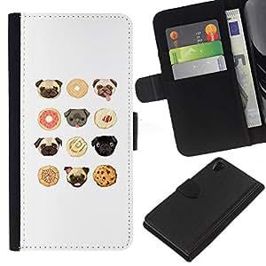 KLONGSHOP // Tirón de la caja Cartera de cuero con ranuras para tarjetas - pug cachorro cookies Modelo blanco lindo - Sony Xperia Z2 D6502 //