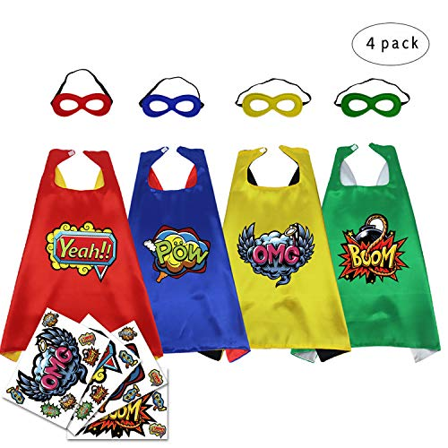iROLEWIN Super Hero Party Capes and Masks for Kids--Dress up Costume Reversible with Hero Words Cutouts, 4 Pack