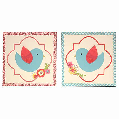 Mila Blue and Coral Birds and Flowers Canvas Wall Art – Set of 2 by Peanut Shell