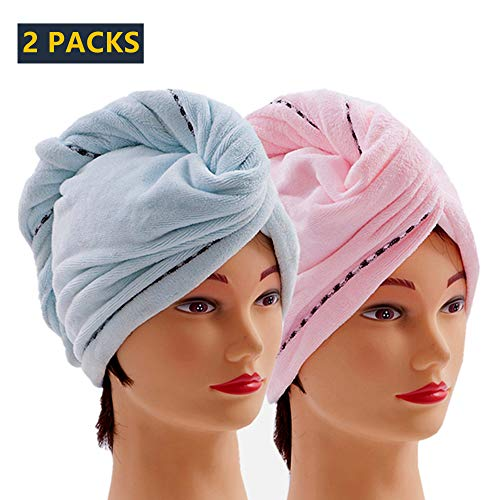 Microfiber Hair Towel Drying Turban Wrap with Buttons, Quick Magic Dry Hair Towel Bath Shower Head Towel - Super Absorbent, Anti-Frizz, Dry Hair Hat - (2 Pack, Blue + Pink)