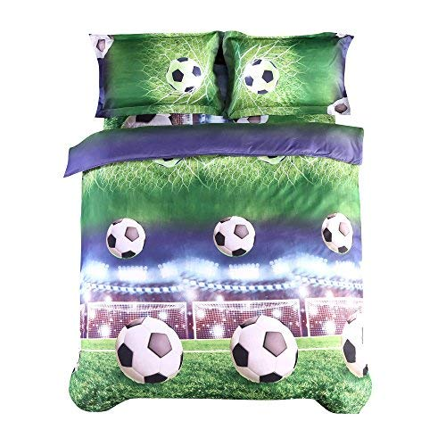 (Lebather Green 3D Soccer Bedding Twin 4 Piece Microfiber Foot Ball Print Duvet Cover Set with 1 Comforter Cover 1Flat Sheet and 2 Pillow Covers)