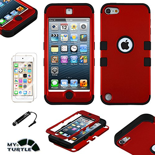 MyTurtle Shockproof Hybrid 3-Layer Hard Silicone Shell Cover with Stylus Pen and Screen Protector for iPod Touch 5th 6th Generation, Red Black (Cases Ipod 3)