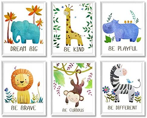 Baby Nursery Decor - Jungle Safari Animal Unframed Wall Art -Set of 6 Posters 8x10 - Lion, Giraffe, Elephant, Monkey, Zebra, Hippo with Inspirational Quotes for Boy Girl Kids