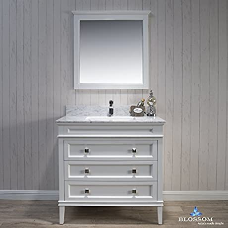 BLOSSOM 015 36 01 WCM Bordeaux 36 Vanity Set With Mirror And White Carrara Marble Countertop Matte White