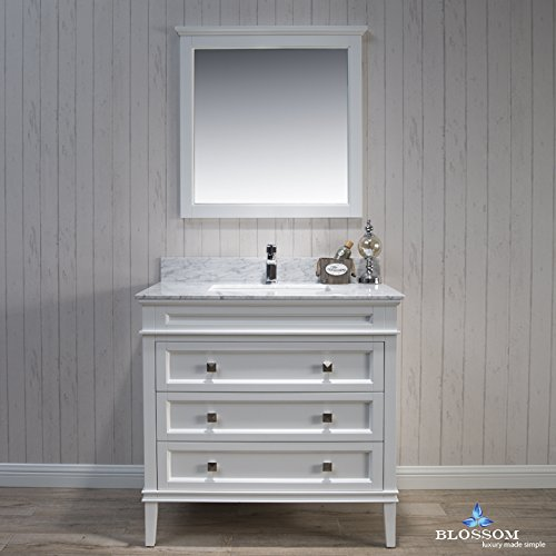 BLOSSOM 015-36-01-WCM Bordeaux 36'' Vanity Set with Mirror and White Carrara Marble Countertop Matte White
