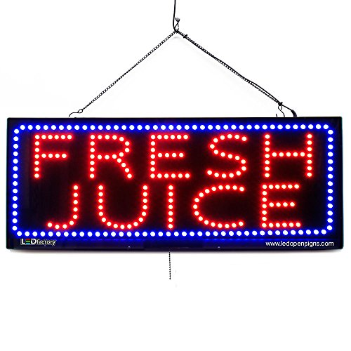 Juice Sign Bar Led - Large LED Window Sign - Fresh Juice - Extra Bright, Can be seen Through Tinted Windows - 32 inches Wide - ON/Off/Flashing Mode (#2690)