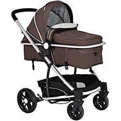 Costzon Infant Stroller 2 in 1 Foldable Baby Buggy Pushchair (Coffee)