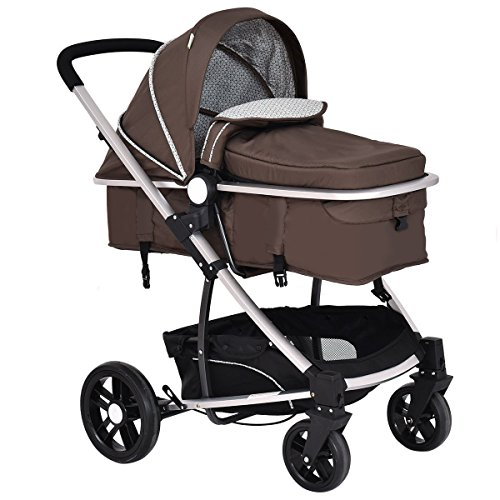 Costzon Infant Stroller 2 in 1 Foldable Baby Buggy Pushchair (Coffee) by Costzon