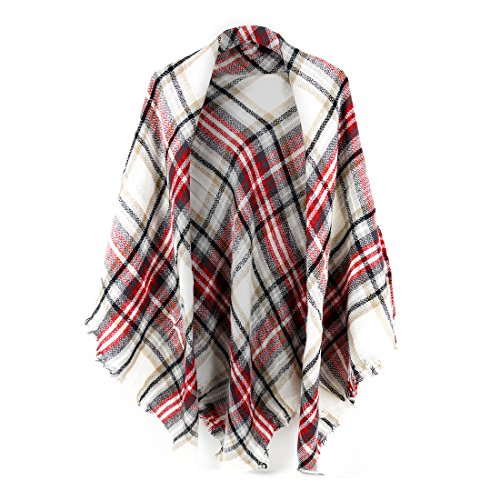 Women's Cozy Tartan Blanket Scarf Wrap Shawl Neck Stole Warm Plaid Checked ()
