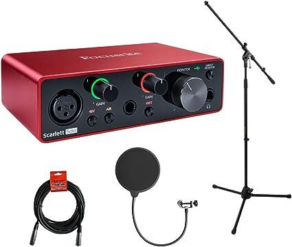 Focusrite Scarlett Solo - Interfaz de audio USB de 3ª generación, 2 salidas con trípode y soporte de micrófono + boom, filtro Kellopy Pop y cable XLR: Amazon.es: Instrumentos musicales
