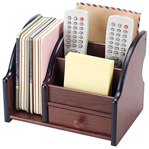 5 Compartment Wood Desktop Office Supply Organizer / Mail Holder Rack with Storage Drawer by MyGift (Image #7)