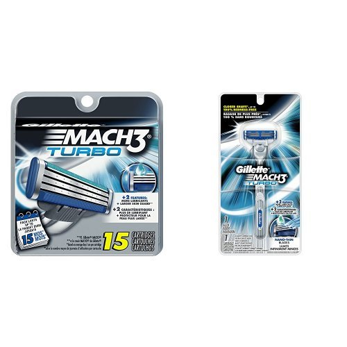 Gillette Mach3 Razor Bundle (1 Razor Handle and 16 Razor Blade Refills) by Gillette