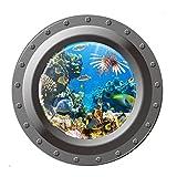 nemo window decals - JMHWALL Finding Nemo 3D Wall Sticker Shark Ocean View Wall Sticker Porthole Window Bathroom Kids Room Decor Sea World Wallpaper 45X4X4CM