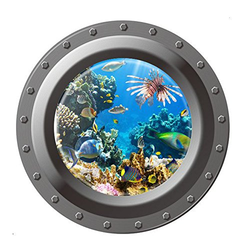 Mikolot Shark Ocean View Wall Sticker 3D Porthole Window Kids Room Home Decor (Porthole Mural)