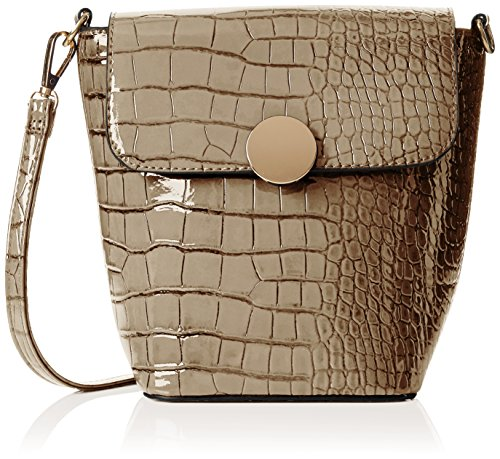 SwankySwansTrudi Gold Patent Leather Shoulder Bag Grey - Borsa a tracolla donna Grey (Grey)