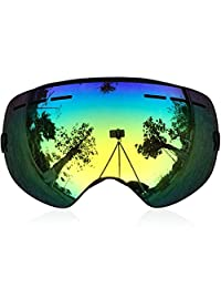 IceHacker 6 Colors Lagopus Snowmobile Snowboard Skate Ski Goggles with Detachable Lens and Wide Angle Double Lens Anti-fog Big Spherical Professional Unisex Multicolor Snow3100 (Black)