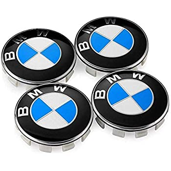 Luckily 4PCS 68mm Carbon Fiber Wheel Center Hub Caps Covers for BMW with Bonus 4PCS Tire Valve Air Caps and 1 Key Chain Fit for BMW Vehicle Blue