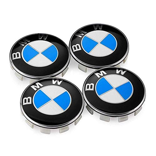 BMW Wheel Center Caps Set of 4 Emblem, 68mm BMW Rim Center Hub Caps for All Models with BMW Wheels Logo Blue & White Color