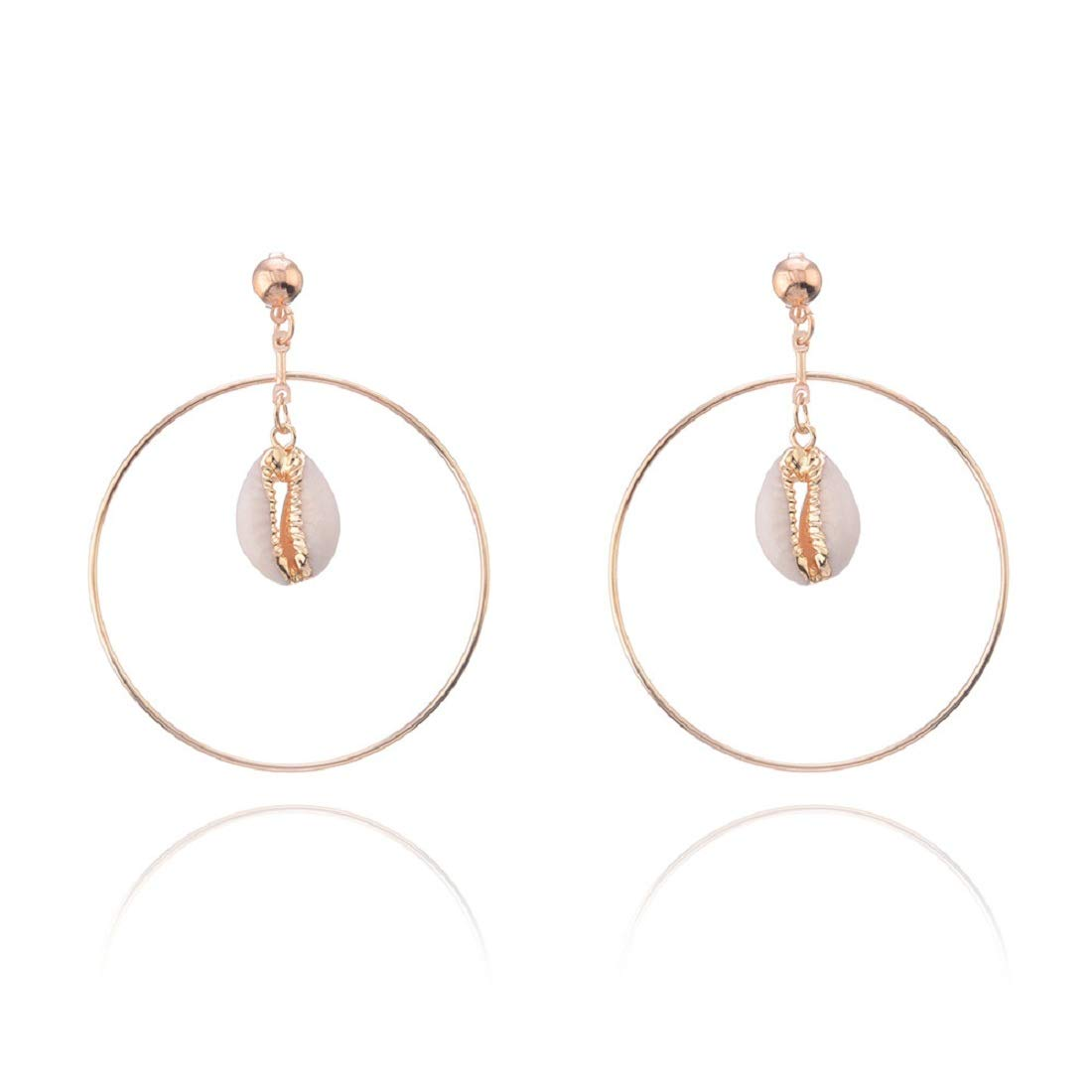 Circle shell JXVLUYE Colors Earring for Women Girls Great Gifts for Women Girls Fashion Simple Style Earring