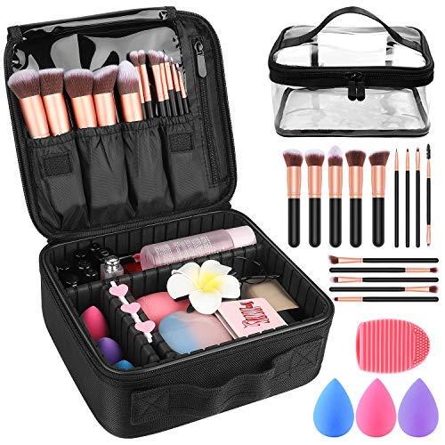 "Makeup Travel Case, with DIY Adjustable Divider Cosmetic Train Bag 10.3"" Organizer Perfect Set Contain 14pcs Premium Makeup Brushes 3 pcs Makeup Sponge Transparent Travel Bag Makeup Brush Cleaner"