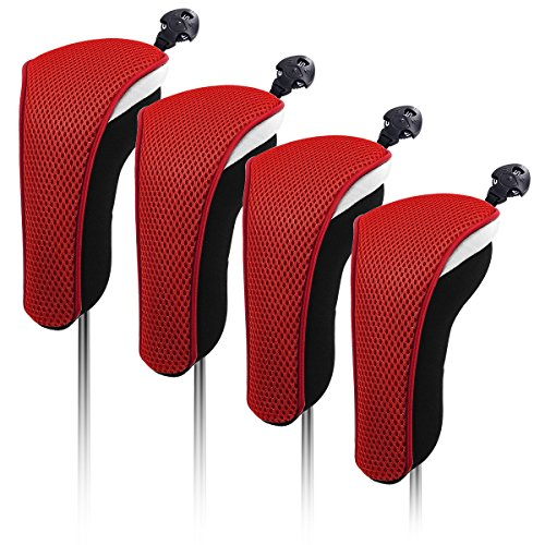 4x Thick Neoprene Black Red Hybrid Golf Club Head Cover Headcovers with Interchangeable Number Tags