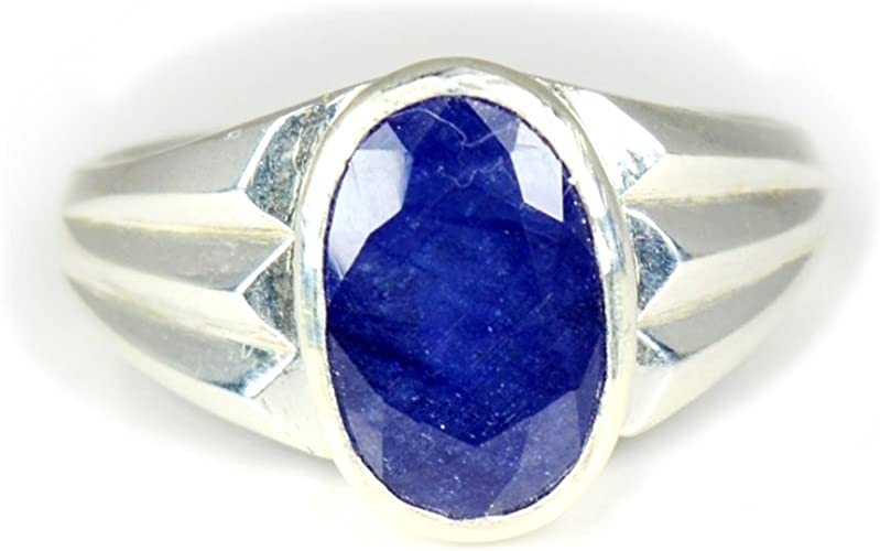 Jewelryonclick 7 Carat Real Blue Sapphire Silver Cut Ring for Men Astrology in Size 5,6,7,8,9,10,11,12