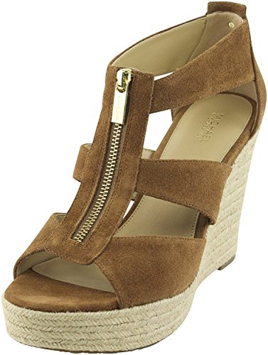 Sandals Kors Open Toe Michael (MICHAEL Michael Kors Womens Damita Leather Open Toe Casual Wedges Sandals Luggage Size 9.0 M US)