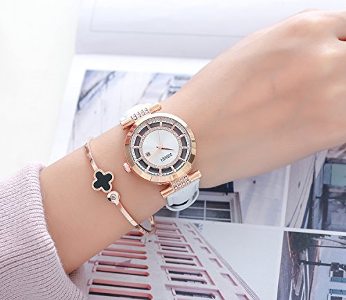 Womens Quartz Watch OUBAOER Crystal Accented Leather Band Watch for Women Transparent Watch with Date Lady Wristwatches for Business(Rose White) by OUBAOER (Image #4)