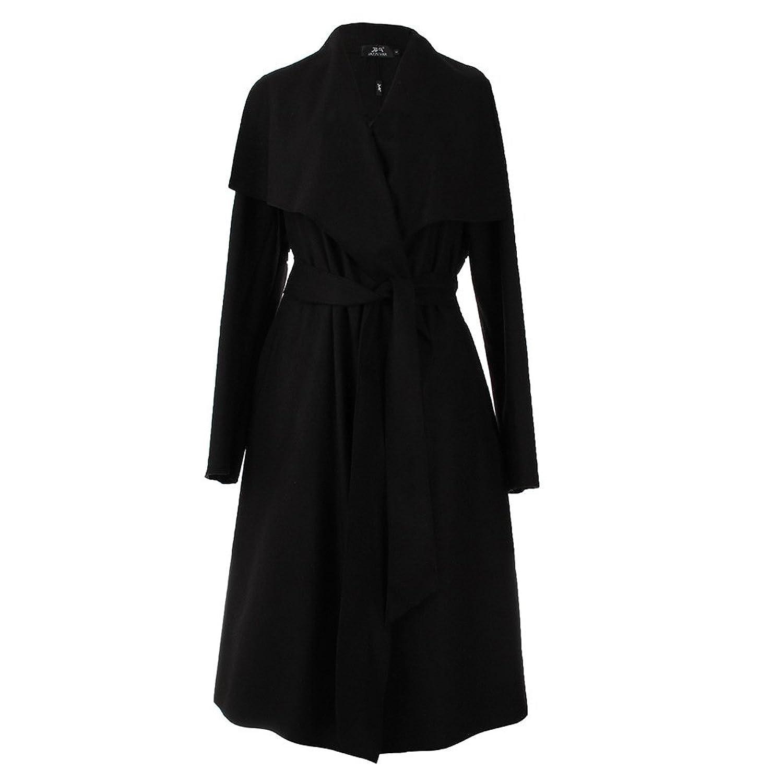 HWCD Women Wide Lapel Belt Wool Coat Oversize Long Trench Coat
