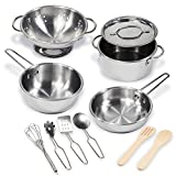 11 Pcs Pretend Play Kitchen Cookware Set By Kidzaro - Stainless Steel Pots & Pans Bundle For Kids - Includes Drainer, Utensils & Accessories