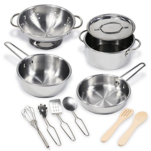 11 Pcs Pretend Play Kitchen Cookware Set By Kidzaro – Stainless Steel Pots & Pans Bundle For Kids – Includes Drainer, Utensils & Accessories
