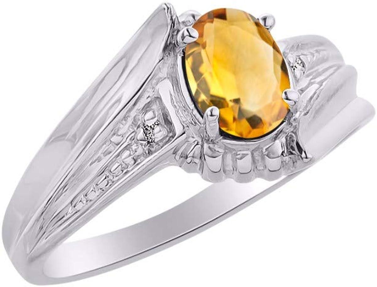 November Birthstone RYLOS Simply Elegant Beautiful Yellow Topaz//Citrine /& Diamond Ring