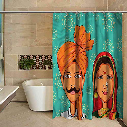 Big datastore Shower Curtain Wedding,Maharashtra Region Festive Soft Easy Care Shower Curtain, W69 x L70 (Toothbrush Sox White)