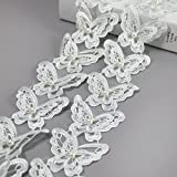 5 Yards Organza Double Layer Butterfly Lace Trim Applique With Pearl Sewing DIY Craft Lace For Festival Wedding Party Birthday Bridal Shower Decoration and DIY Handmande Accessories (Light Blue)