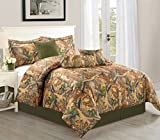 Empire Home Woodlands Brown & Green Camouflage 7 Piece Comforter set Over Stock Special - Ships from USA (Queen Size)