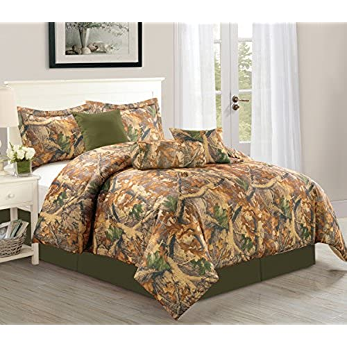 Woodland 7 Piece Camouflage Comforter Set Over Sized Bedding  Queen Camo Amazon com