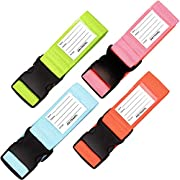 Personalised Luggage Straps for Suitcases (4 Pack Blue Green Orange Pink) OW-Travel Easy to Spot Sturdy Suitcase Straps…
