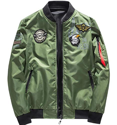Zip Jacket Plus Army Patched Coat Stand Men's Green AngelSpace Size Lounge Collar Pockets 8wnUgq